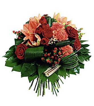 Round Bouquet in Red and Orange