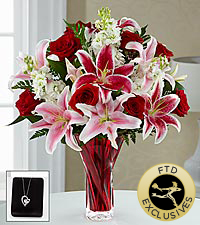 The FTD® Anniveraary Bouquet with Pendant - VASE INCLUDED