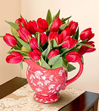Red Tulips with Red Pitcher