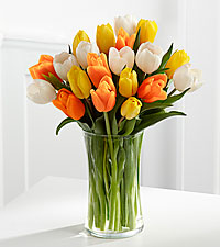The Heat is On Tulip Bouquet - 25 Stems - VASE INCLUDED