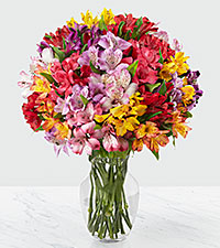 The FTD® Pick Me Up Rainbow Discovery Peruvian Lily Bouquet - 25 Stems - VASE INCLUDED