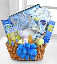 Special Stork Delivery Baby Boy Basket