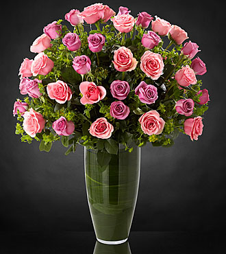 Serenade Luxury Rose Bouquet - 40 Stems of 24-inch Premium Long-Stemmed Roses - VASE INCLUDED